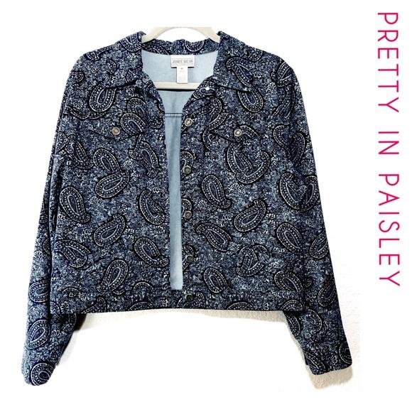 Jones Wear Jackets & Blazers - Jones Wear Sport Paisley Jean Jacket